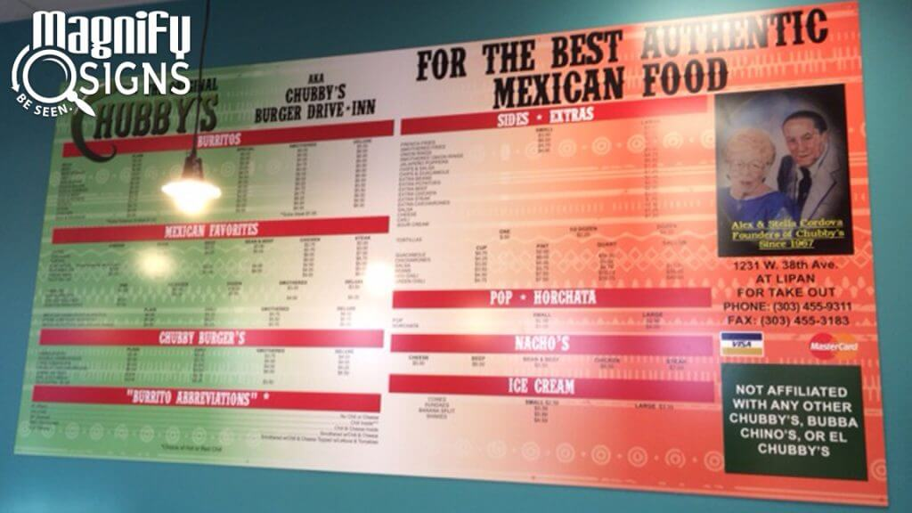 Acrylic Panel Menu Board for The Original Chubby's in Denver, CO