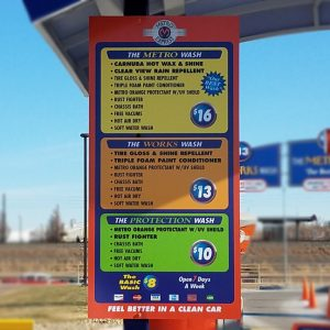 Aluminum Panel Menu Board for Metro Express in Englewood, CO