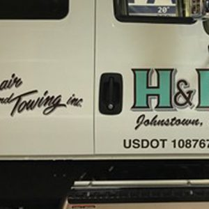 Vehicle Lettering for H&R Towing in Johnston, CO