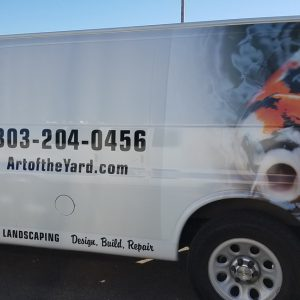 Partial Vinyl Vehicle Wrap on Art of the Yard's Van in Highlands Ranch Denver