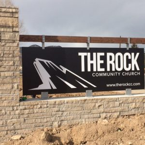 Custom Masonry Stone with Aluminum Panel Monument sign for The Rock Community Church in Denver & Englewood