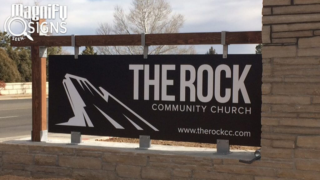 Custom Masonry Stone with Aluminum Panel Monument sign for The Rock Community Church in Littleton, CO
