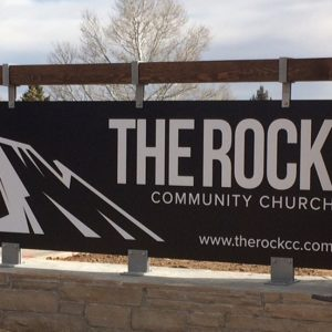 Custom Masonry Stone with Aluminum Panel Monument sign for The Rock Community Church in Denver