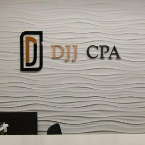 Custom Acrylic Lobby Sign for DJJCPA in Denver, CO