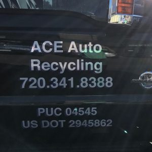 Vehicle Lettering on an ACE Auto Recycling Truck in Denver, CO