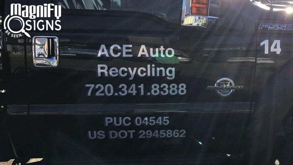 vehicle lettering on an ace auto recycling truck in denver co custom business signs interior. Black Bedroom Furniture Sets. Home Design Ideas