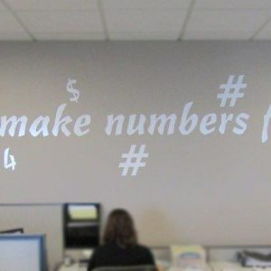 Custom Office Graffiti made of Cut Vinyl Signs in the office of DJJCPA in Denver, CO