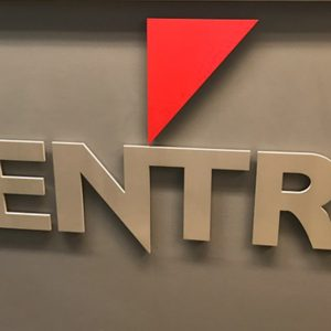 Custom Acrylic Lobby Sign with Brushed Aluminum Face for Centre Communications in Centennial, CO
