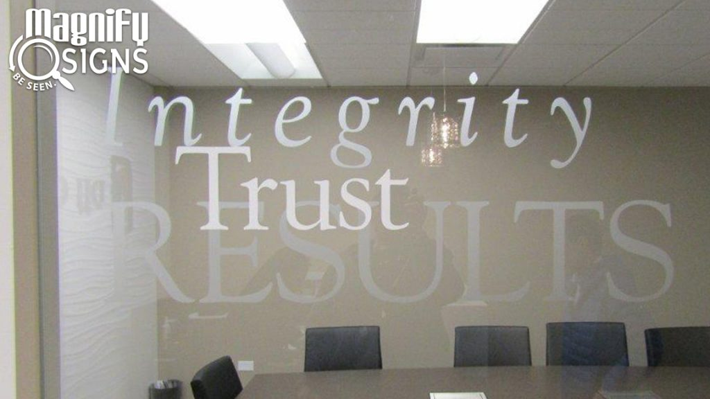 Custom Conference Room signage made with Cut Window Vinyl Graphics in Denver, CO