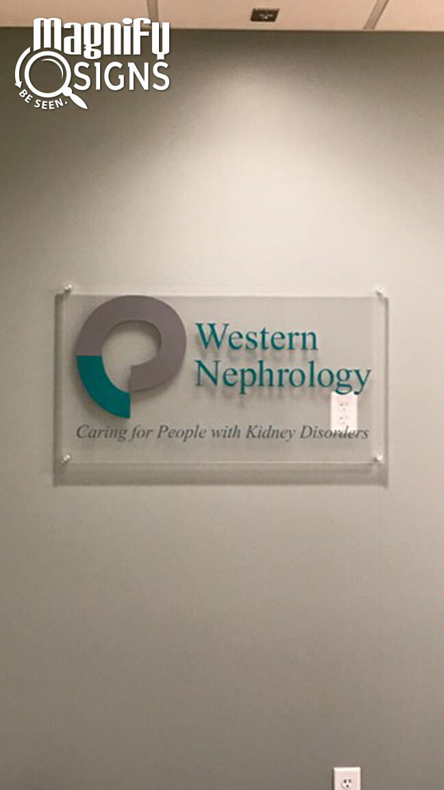 Acrylic Lobby Sign for Western Nephrology offices in Denver, CO