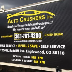 Custom Box Truck Vehicle Wrap for Auto Crushers Inc. in Englewood, CO