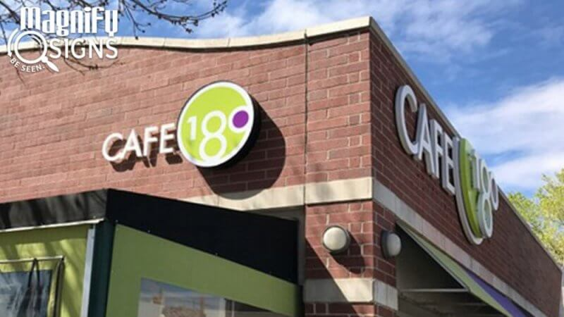 Acrylic And Polycarbonate Exterior Sign For Cafe 180 In