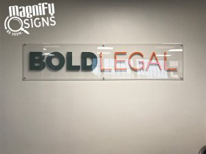 Bold Legal Glass Lobby Sign