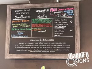 GraceFull Cafe Menu Sign in Denver