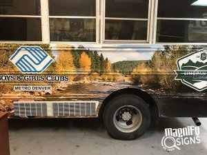 Boys & Girls Clubs vehicle Graphics Side closeup kindness Yoga Outdoor Sign in Denver