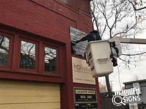 HPE Denver Outdoor Banner Installation in Englewood