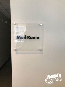 Mail Room Glass Lobby Sign