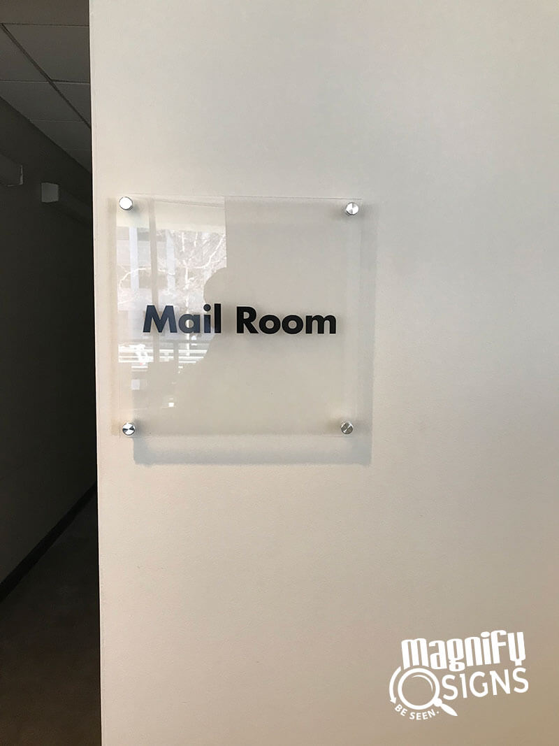 Mail Room Glass Lobby Sign Custom Business Signs